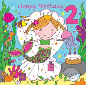 LIL2 - Age 2 Girls Birthday Card Mermaid